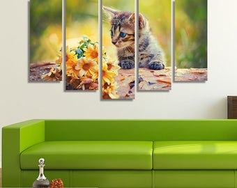 LARGE XL Cute Little Kitten Canvas Print Cat Looking at Bunch of Flowers on a Wooden Snag Canvas Wall Art Print Home Decoration - Stretched