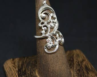 Full Whole Finger Knuckle Filigree Double Ethnic Boho Sterling Silver Ring