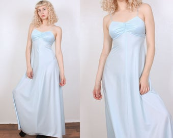 70s Grecian Dress // Vintage Boho Maxi Dress Baby Blue Spaghetti Strap - Small