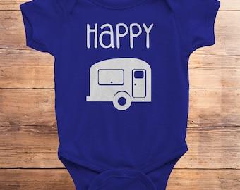 happy camper, happy camper shirt, happy camper gift, happy camper tshirt, camping, baby shower gift, little camper, woodland, outdoors