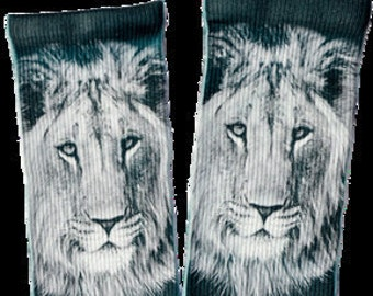 White Lion Crew Socks -  Unique Socks - Novelty Socks - Cool Socks - 100% Polyester for Maximum Comfort - FREE Shipping
