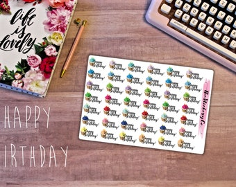 Functional Happy Birthday Sticker, Functional Planner Stickers, Cupcake Stickers