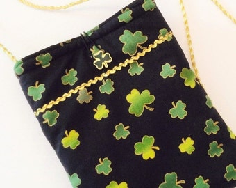 St Patricks Day Purse, Cross Body Bag, Small Purse, St Paddys Decor, St Paddys Day Purse, Green Purse, Green and Gold Bag 6012
