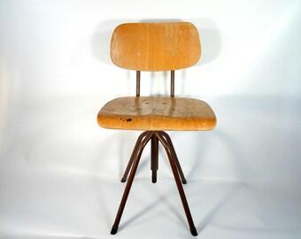 Vintage Industrial Swivel Chair / Adjustable Chair / Vintage Industrial Swivel Stool / 70s Adjustable Stool / Mid Century Industrial Stool