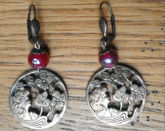 Earrings Art Nouveau gold round baskets with wife, waves and iridescent red beads and flowers patterns