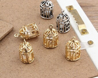 Bird Cage Charm With Pearl Inside Antique Silver Charm K Gold Silver 12*20MM Bird Cage Pearl Charms MNT018