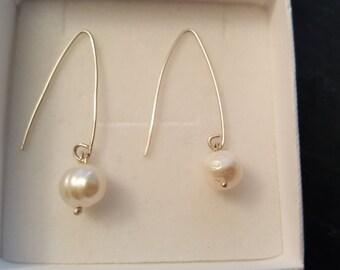 Fresh water pearls earrings, sterling silver, hall marked, womens earrings