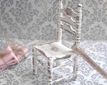 Doll House Furniture 1:12th shabby chic vintage style miniature Flora Dresser Chair