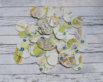 Vintage Map Circle Confetti (Stickers or Cut-Outs)