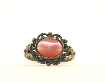 Vintage Flower Design Coral Color Chrysoberyl Ring 925 Sterling Silver RG 2208