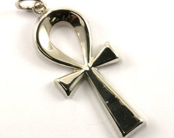 Vintage Egyptian Ankh Cross Key Of Life Pendant 925 Sterling Silver PD 972