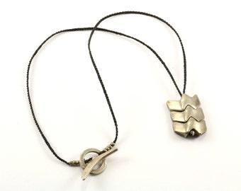 Vintage Zig Zag Design Black Rope Necklace 925 Sterling Silver NC 553-E