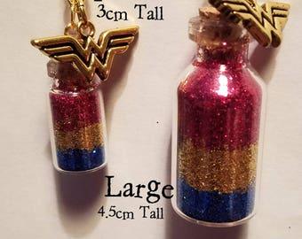 Wonder Women Glitter Jar Long Necklace