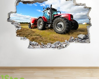 Tractor Wall Sticker 3d Look - Bedroom Lounge Nature Farm Yard Wall Decal Z71