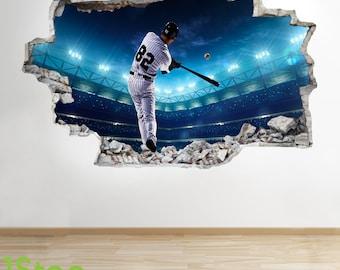 Baseball Wall Sticker 3d Look - Boys Kids Bedroom Sport Wall Decal Z289