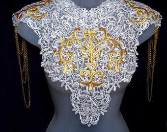 Steampunk lace collar. Statement necklace of white lace, gold embroidery and chain shoulder epaulettes. 'Body Tattoo'
