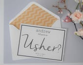 Personalised Usher Card  Wedding Cards  Will You Be Our Usher  My Usher  Usher Card  Wedding Party Cards  Usher Gift  Chevron Liner