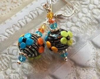 Colorful Floral SRA Lampwork Earrings, SRA Lampwork Jewelry, Mothers Day, Gift For Her, Floral Earrings, Flower Earrings