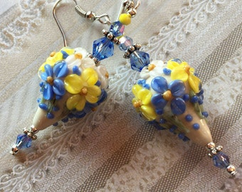 Mothers Day Gift, Ivory and Periwinkle Flower/Floral Earrings, Lampwork Jewelry, SRA Lampwork Earrings, SRA Lampwork Jewelry, Gift For Her