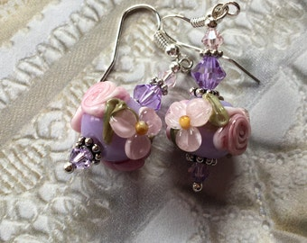 Mothers Day Gift, Lavender Lampwork Floral Earrings with Pale Pink Flowers, Lampwork Jewelry, Mothers Day, Gift For Her