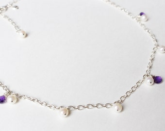 Pearl & Amethyst Droplet Necklace, Sterling Silver Chain