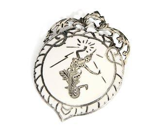 Enamel Filigree Brooch Pin, Antique 40s 925 Sterling Silver, Siam Thai Nakon Mekkala Pin, White Enamel Jewelry, Thailand Silver Niello Pin