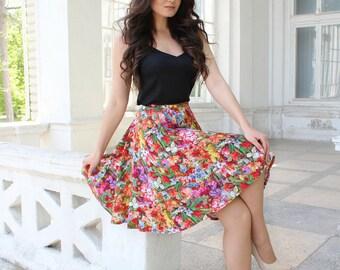 Floral skirt, Summer skirt, Cotton skirt, Midi skirt, Ovesize woman skirt, Flower Skirt, Circle skirt, Boho Skirt, Sun skirt, Short skirt