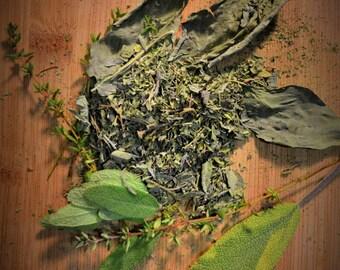 Herb Farm Tea Blend - Certified Organic, Herbal, Oregano, Sage, Thyme, Basil, Loose leaf, Savory, Beverage, Wholesome, Medicinal, Specialty