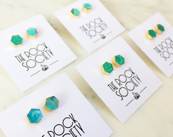Natural Genuine Turquoise Hexagon Earring Studs