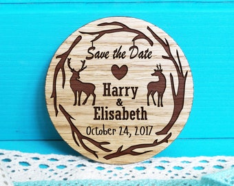 Wooden Save-the-Date Magnets-Deer Save-the-Date magnets-Forest Save the Date Magnets-Wooden Magnets-Engraved Magnets-Rustic Save the Dates