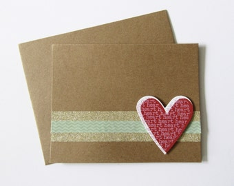 Embellished Handmade Heart Greeting Card