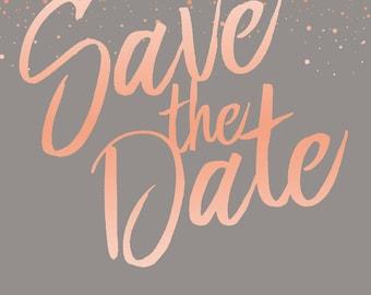 Peach/Grey Fleck Design - Save the date cards