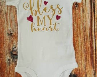 Baby Girl Clothes, Bless My Heart Bodysuit