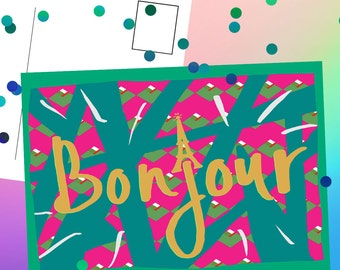 Bonjour Postcard - Fun postcard - Colourful Postcard - French postcard
