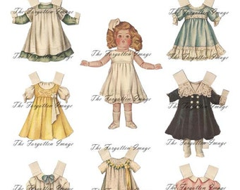 Digital Paper Dolls, 1920s Vintage Doll and Clothes Paper Doll, Printable Digital Doll, Doll Ephemera