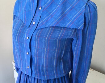 Sale - Periwinkle blue 70s 80s dress xs small