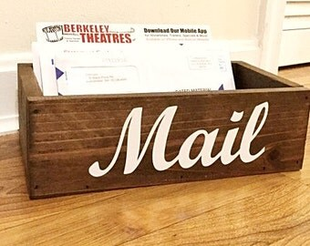 Reclaimed Wood Mail Holder, Entry Wall Storage, Mail Organizer, Wooden Mail Sorter, Kitchen Catchall, Mail Caddy, Rustic Home Decor, Mail