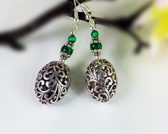 Statement, lagenlook, malachite, silver earrings, semi precious stone, filigree bead, elegant, gift for her, dangle, drop, hook, earrings