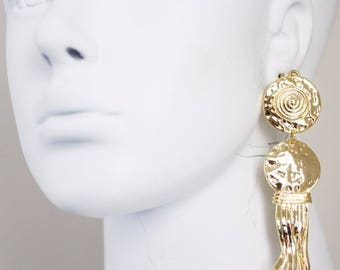 VINTAGE 80'S Couture Roman greek Revival Gold Plated Chandelier CLIP EARRINGS
