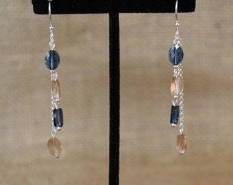 Sterling Silver Swarovski Crystal Dangle Earrings In Denim Blue And Light Silk