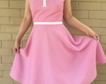 Vintage pink and white polkadot dress