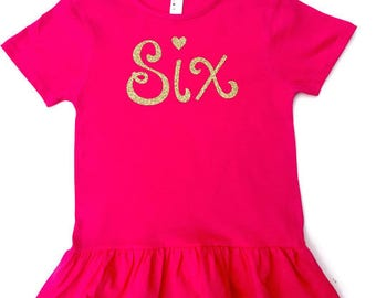 Six Birthday Shirt - Girl Birthday Shirt - Birthday Gift for Girl - Girl Birthday Tee - Six t shirt - Ruffle shirt - Birthday Tee - 6 Tee