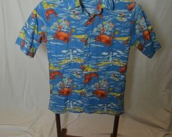 Mens All Over Lobster Crab Sea Shells Tropical Hawaiian Button Front Hawaiian Shirt - Size S