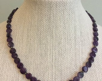 """Upcycled Jewelry """"Violet"""" Beaded Necklace - Made with Vintage/ Recycled Materials"""