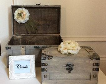 Elegant wedding card holder trunk/Wedding card trunk/Wedding decorations/Rustic wedding decor/Wedding trunk set