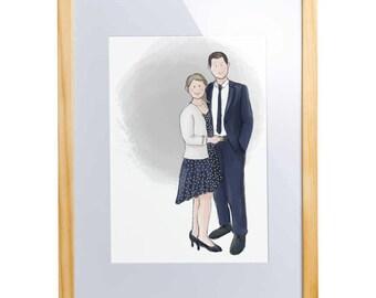 Personalized digital portrait / illustration few print gift