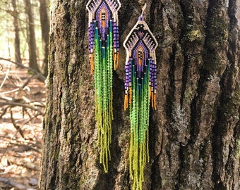 Birds Of Paradise Earrings  seed bead  beaded tribal fringe shoulderdusters beadwork jewelry ethnic  beads brick stitch hippie bohemian