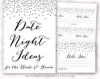 Printable Date Night Ideas Bridal Shower Game Silver Glitter Confetti, Silver Confetti Silver Glitter Bridal Shower Game, Wedding BRS1BGM002