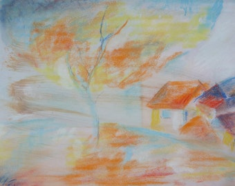"My ""seasons"" of original, pastel, coal drawing, signed, A4"