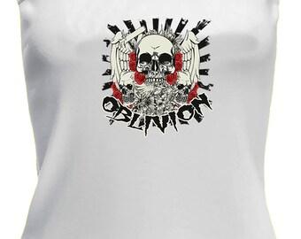 Ladies Tattoo Style Skull Oblivion Design on White Strappy Top